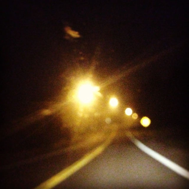Night driving.